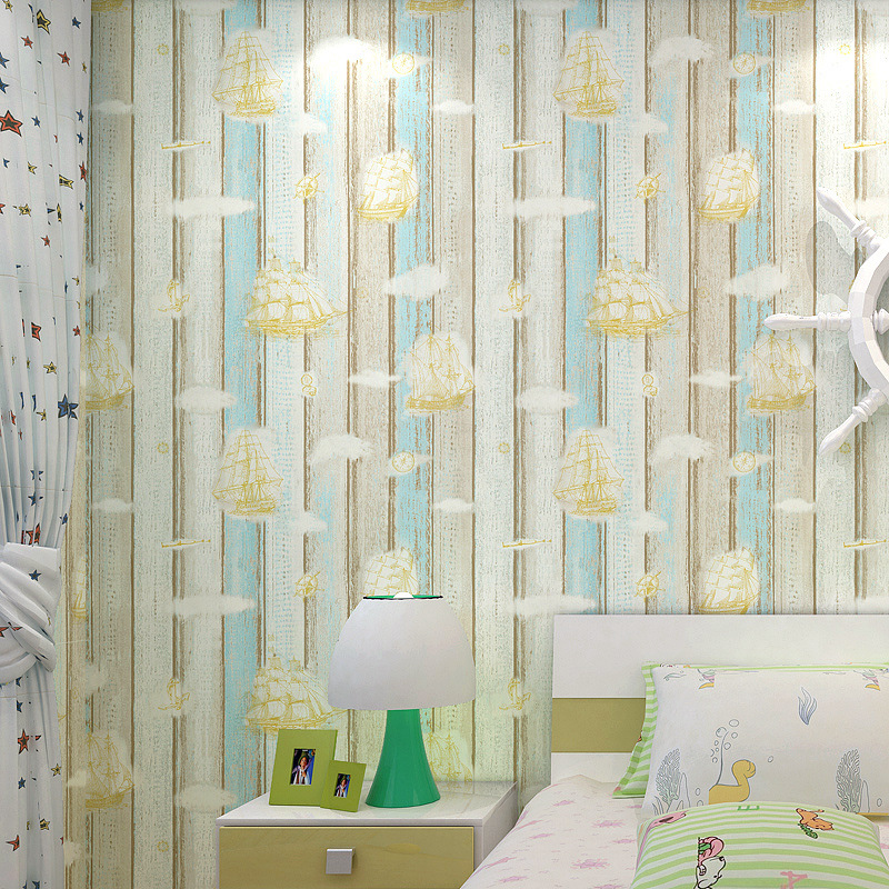 Beibehang Children's room wallpaper Mediterranean sailboat vertical stripes modern boy bedroom study 3D wallpaper papel contact beibehang wallpaper vertical stripes 3d children s room boy bedroom mediterranean style living room wallpaper