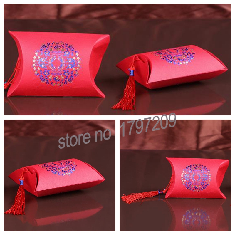 60pcs Chinese Pillow Shape Wedding Party Favors Candy Boxes With