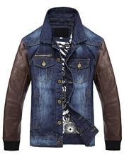 2016 New Men'S Slim Jeans Jacket Denim Jacket Men Leather Denim Coat Autumn Male Stitching Leather Outerwear Free Shipping