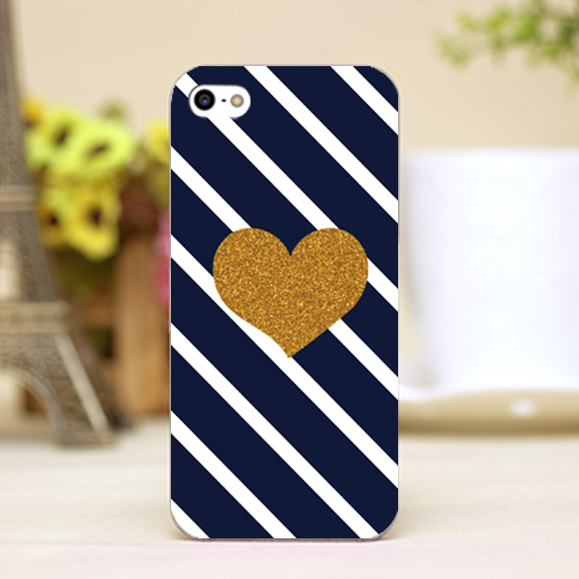 pz0103-7 luxury brand golden heart Design phone transparent cover cases for iphone 4 5 5c 5s 6 6plus Hard Shell