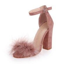 купить Woman Fur Sandals Gladiator Shoes Women Summer Super High Heels Rabbit Hair Peep Toe Elegant Sexy Luxury Brand Design по цене 1030.89 рублей