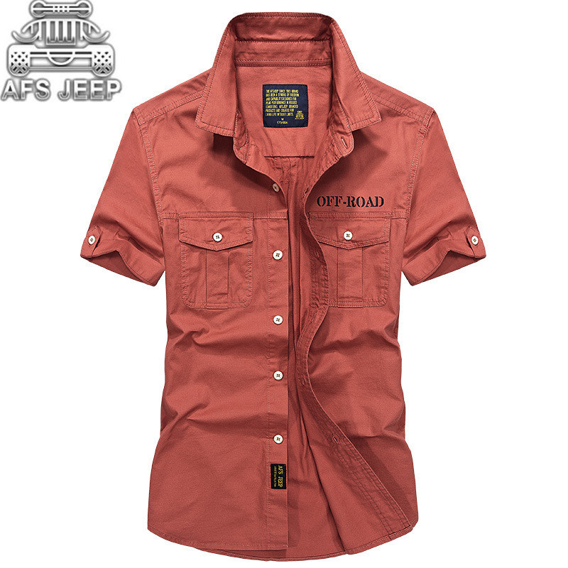 Original AFS JEEP Brand Men Shirts Short sleeve Breathable Plus Size 4XL Cool summer imported clothing camisa social masculina