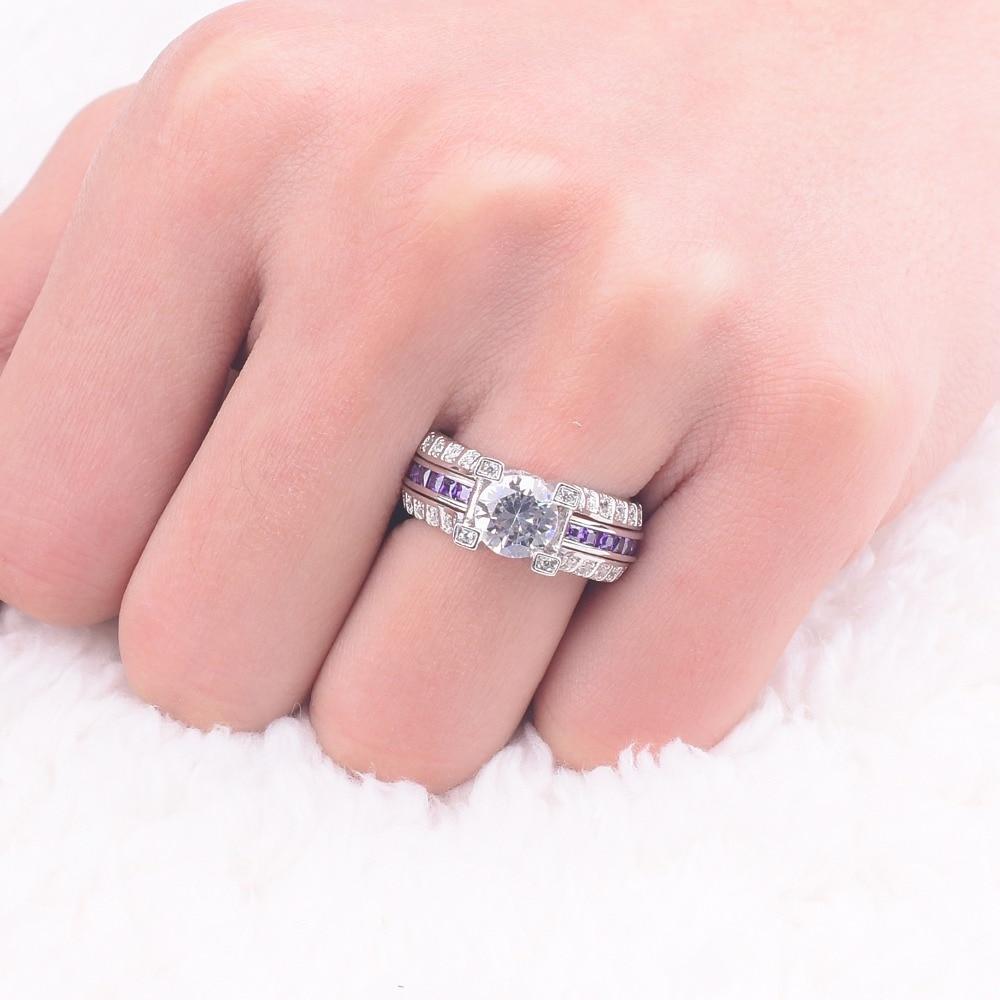 Jeulias Fashion Princess cut purple Sapphire Ring for Women Men ...