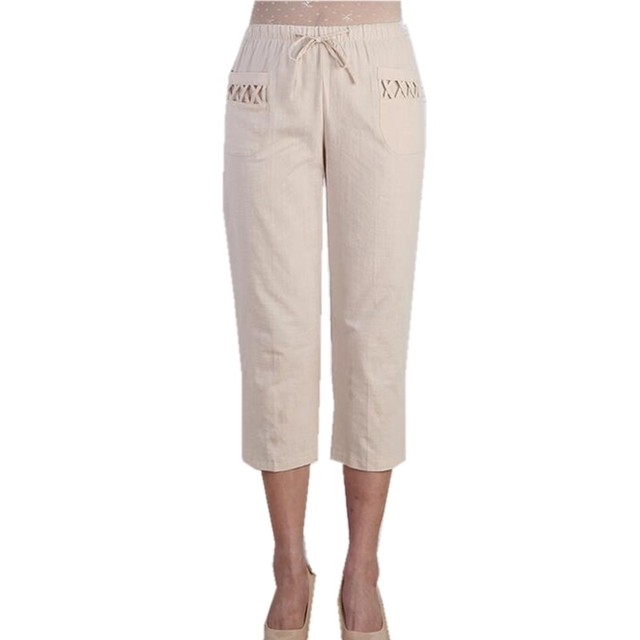 Online Shop 2017 Summer Women Pants Elastic Waist Capris Pants ...