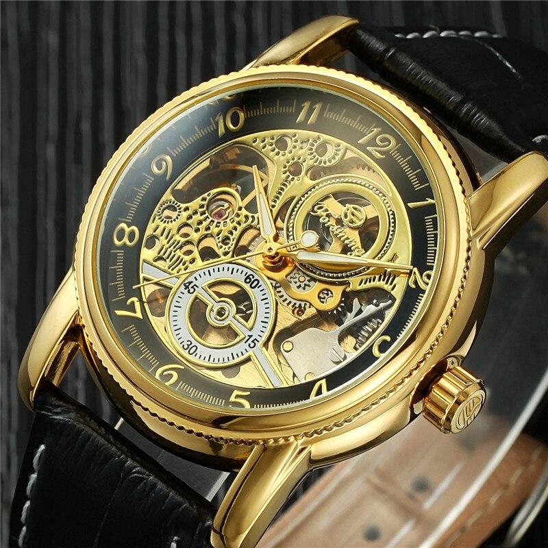 Роскошная натуральная кожа ремешок Скелет Спорт Аналоговый Мужские и женские механические наручные часы Relogio Masculino