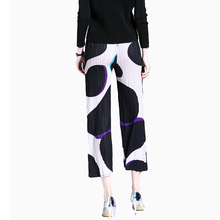 PY171114 2018 Nine-fold folds printed wide leg pants women