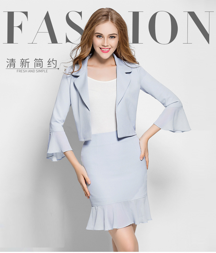 Women Elegant Cute Spring Skirt Suit Wear To Work Office Business career OL Jacket blazer & Skirts Suit 2 Piece Sets 001