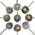 1 unid 28' Almohadillas Cadena Bronce Antiguo Collar Medallón Medallones Colgantes Perfume Difusor de Aceite Esencial de Aromaterapia