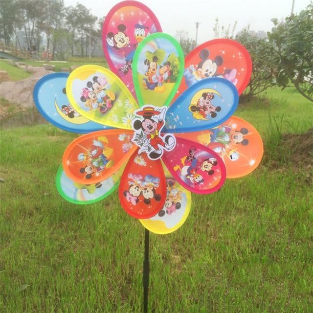 Cartoon Garden Ornaments Windmill Wind Spinner Whirligig Garden Windmill  For Garden Home Decor Children Gift B5