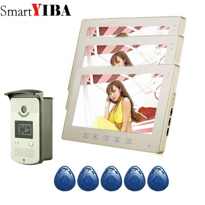 SmartYIBA 10 Pouce TFT Téléphone Visuel de Porte Sonnette D'intercom du Kit 1-appareil photo 3-monitor Nuit Vision avec IR Caméra