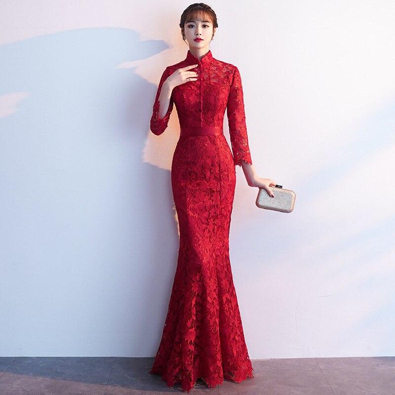 2d0ce1998 Embroidery Cheongsam Long Chinese Oriental Evening Dress Elegant Princess Dresses  Red Qipao Wedding Summer Women Sexy