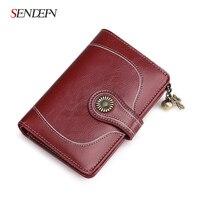 Pre Sale New Vintage Style Women Clutch Small Wallet Split Leather Wallet Female Short Wallet Women