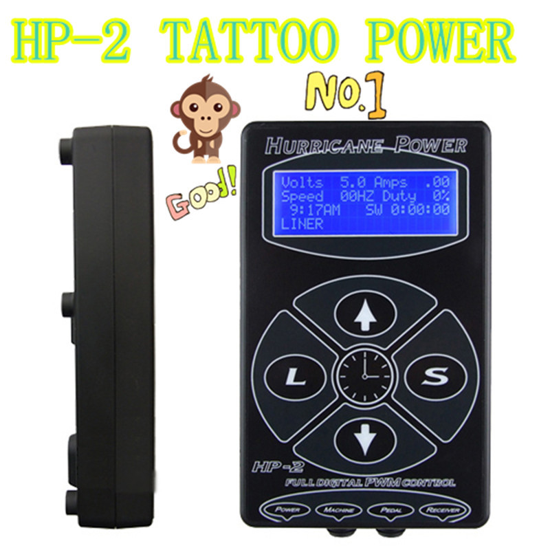 ФОТО Professional Tattoo Power Supply Hurricane HP-2 Powe Supply Digital Dual LCD Display Tattoo Power Supply Machines Free Shipping