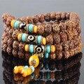 Ubeauty 10mm Nepal Rudraksha 108 bodhi beads bracelet Tibetan Buddhist mala prayer bracelets Buddha meditation necklace