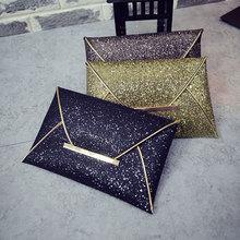 Simple Fashion Women Envelope Clutch Bag Solid Color Leather Glitter Purse Party Delicate Handbag Ladies Wedding Bags LX