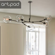 Artpad Creative Art Design Chandelier Nordic Branching Bubble 110 220V Pendant Lamp Dinning room Living room Glass Ball Light(China)