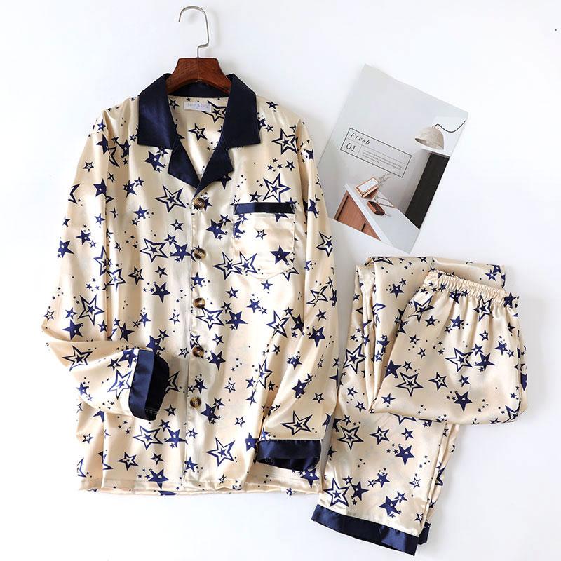 Sleepwear Man Pajamas Silk Korean Men's Summer Home Thin XL And Suit Spring