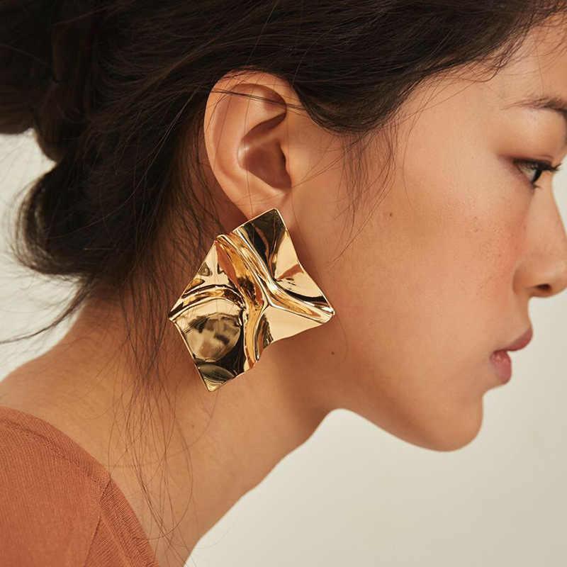 Qiaose Hot Sale Gold Silver Plated Geometric Charms Stud Earrings for Women Fashion  Jewelry Women 5ef66c488b20
