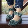 Высокое качество нового прибытия женщины 2017 весна осень натуральная кожа плоский каблук туфли женские эспадрильи мокасины цветочные бездельники