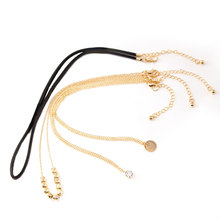 New Fashion Round Sequins Crystal Beads Chain Choker Necklace Gold Multilayer Leather Rope Charm Women