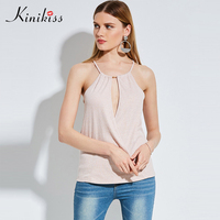 Kinikiss Women Halter Sexy Tank Tops Deep V Wrap Metal Club Cami Top Lady 2017 Summer