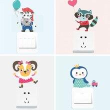 цена на Cartoon Cute Animal Cat Switch Sticker Decoration Wall Sticker Bedroom Living Room Wall Socket Sticker Home Decor New 1pcs