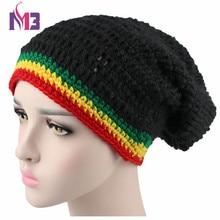 Fashion Unisex Rasta Hat Winter Warm Handmade Knitted Crochet Hats Jamaican Beanie Caps Hip Hop Cap Bob Marley Reggae