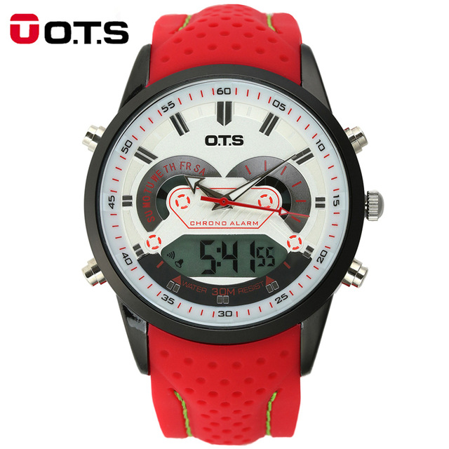 OTS Brand Sports Wrist Watch Men's Military Waterproof Watches Fashion Rubber LED Digital Watch Men Wristwatches Clock Male