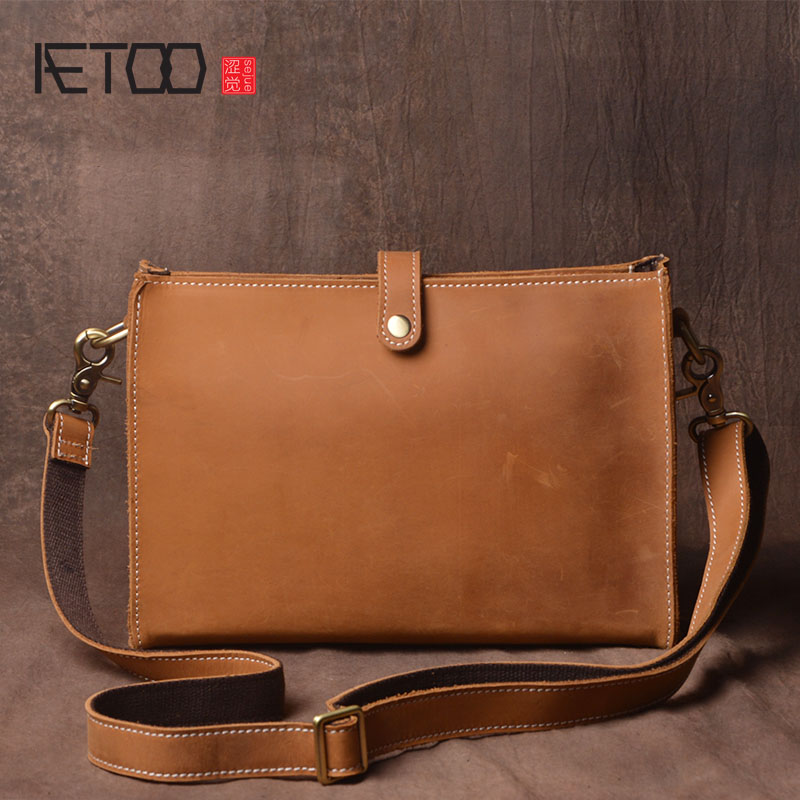 AETOO Handmade leather men bag fashion small shoulder bag leather retro Messenger bag mad horse skin postman package leisure aetoo the new retro mad horse skin backpack fashion shoulder shoulder leather package tide package
