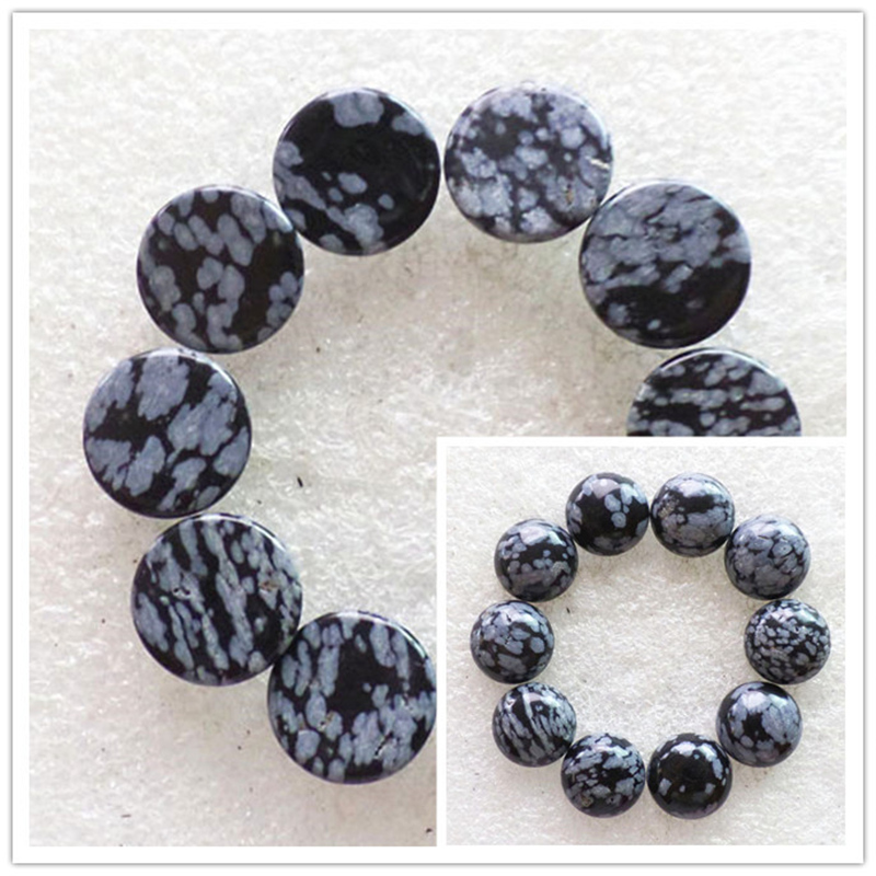 (10 pieces/lot) Wholesale Natural Snowflake Obsidian Round CAB Cabochon 14x6mm Free Shipping Fashion Jewelry RO2025