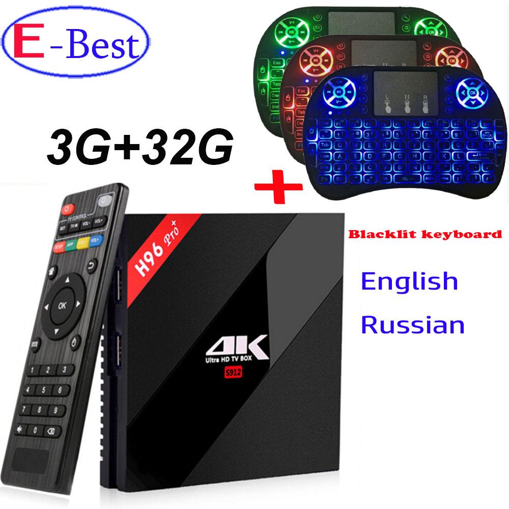 Prix pour H96 PRO + Android 7.1 TV Box Amlogic S912 Octa Core 3G/32G plus rétro-éclairé Clavier WiFi 2.4G/5.0G BT4.1 KODI 17.0 H.265 4 K Lecteur