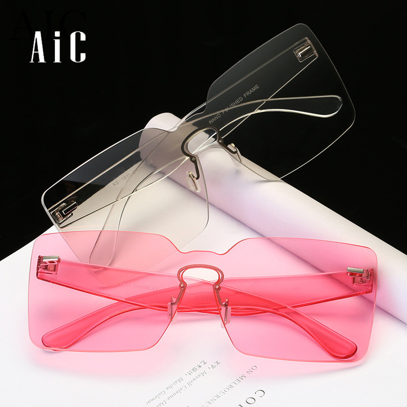 Brand Designer Oversized Men Sunglasses Women Flat Top Sun Glasses Frame Square Male Clear Transparent Male Female