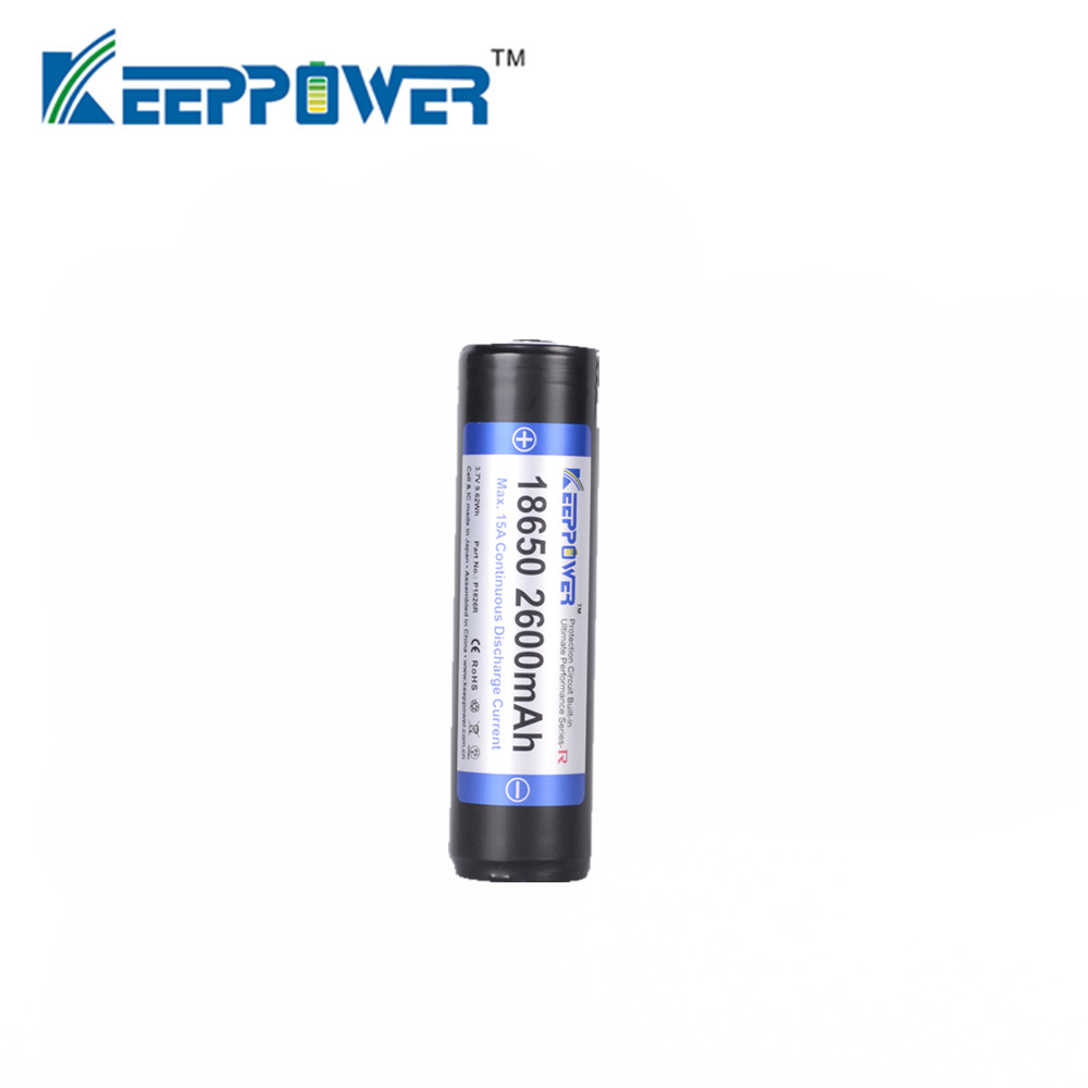 1 Pcs Keeppower 2600mah 18650 P1826r Protected Li Ion Rechargeable Protection Circuit For Led Torch Sanyo Battery Cell Max 15a Discharge Drop Shipping In Batteries From Consumer