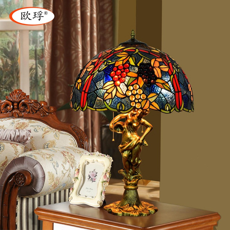 US $181.96 40% OFF|American style grapes Tiffany color glass table lamp for  living room bar dining room bedroom bedside table lamp-in Table Lamps from  ...