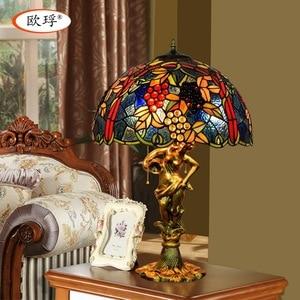Image 1 - American style winogrona Tiffany kolor szklana lampa stołowa do salonu bar jadalnia sypialnia lampa stolik nocny