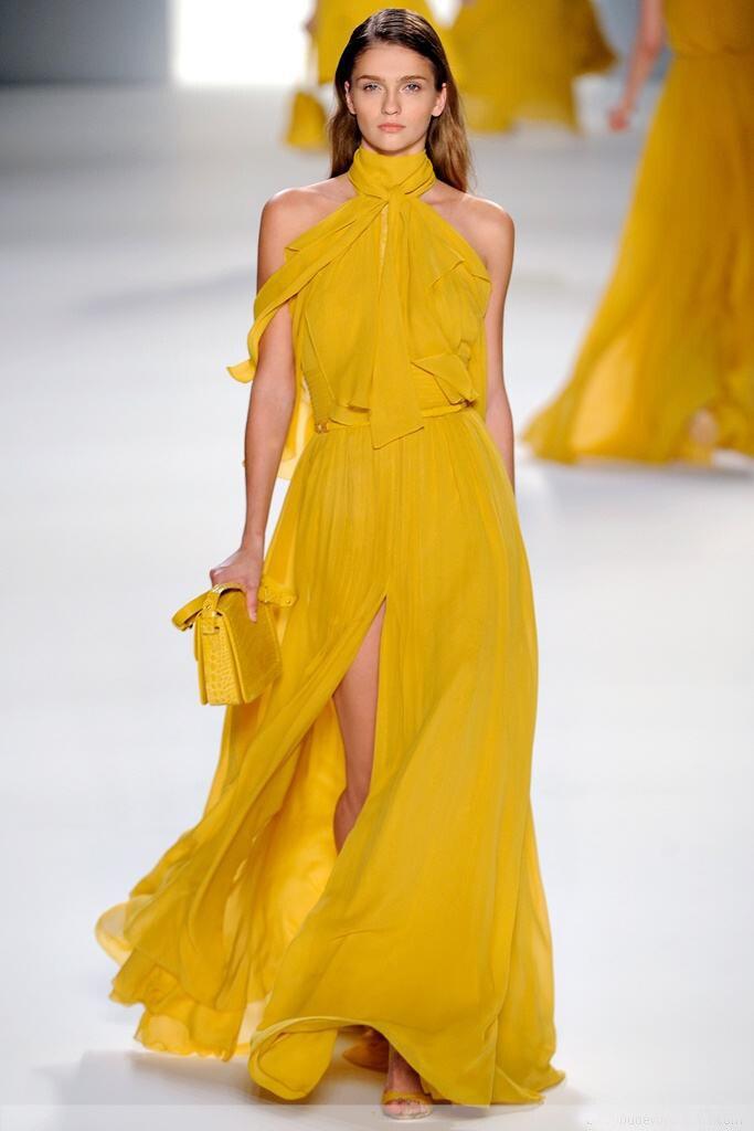 Elie_Saab robes de célébrité licou longueur au sol Court train pli en mousseline de soie cuisse-haute fente robe robes de soirée