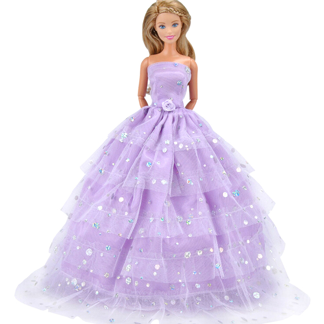 1Pc Doll Strapless Party Wedding Dress Princess Gown Dress Clothes ...