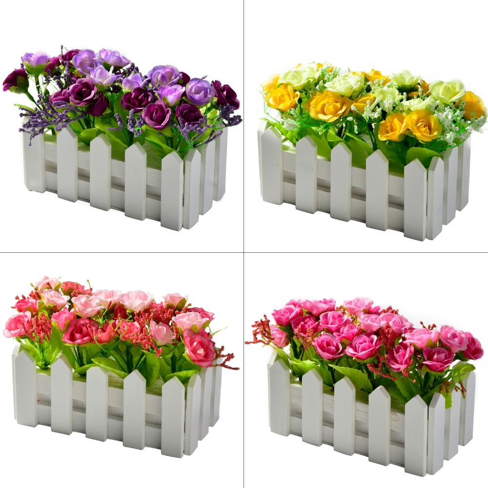 Garden Decoration Fake flower+16cm wood fence vase bonsai farmhouse decor rose artificial diamond rose flowers set for wedding fake rose flowers