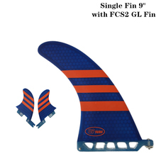 Surf longboard fin 9 inch Fin with FCS2 GL Fibreglass in Surfing single Red/Blue color