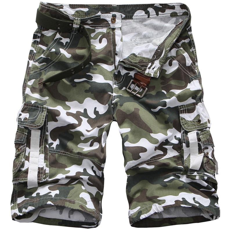 Summer Men Casual Short Pants Knee Length Military Cargo Camouflage Shorts Loose Bermuda Short Jogger Trousers