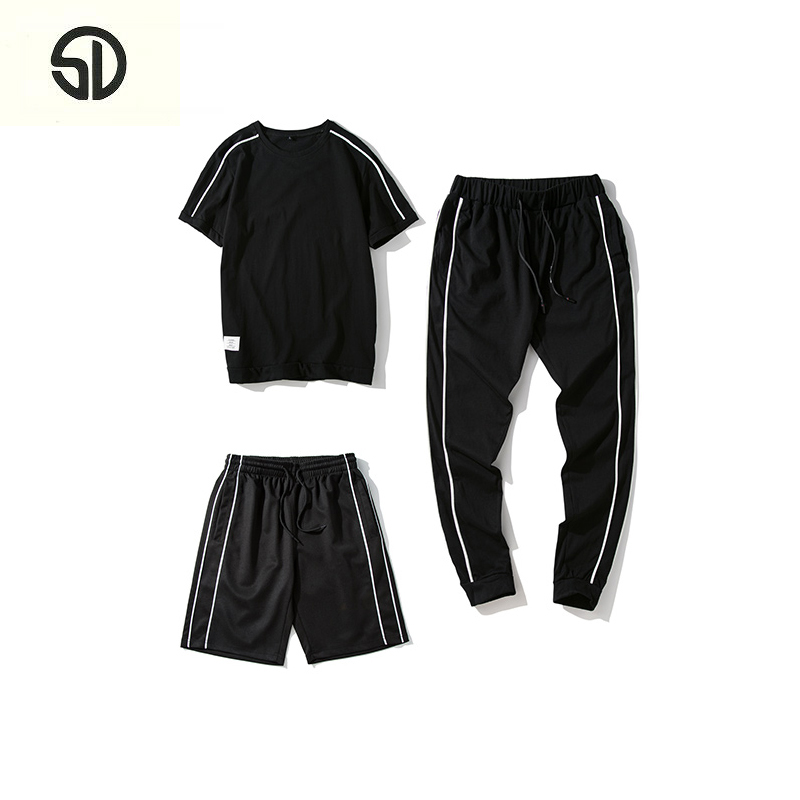 Casual Tracksuit Men New 3PC Set Tee+Shorts+Pant Fashion Summer Solid Color Sportsuit Streewear Moletom Masculino M-4XL 2018