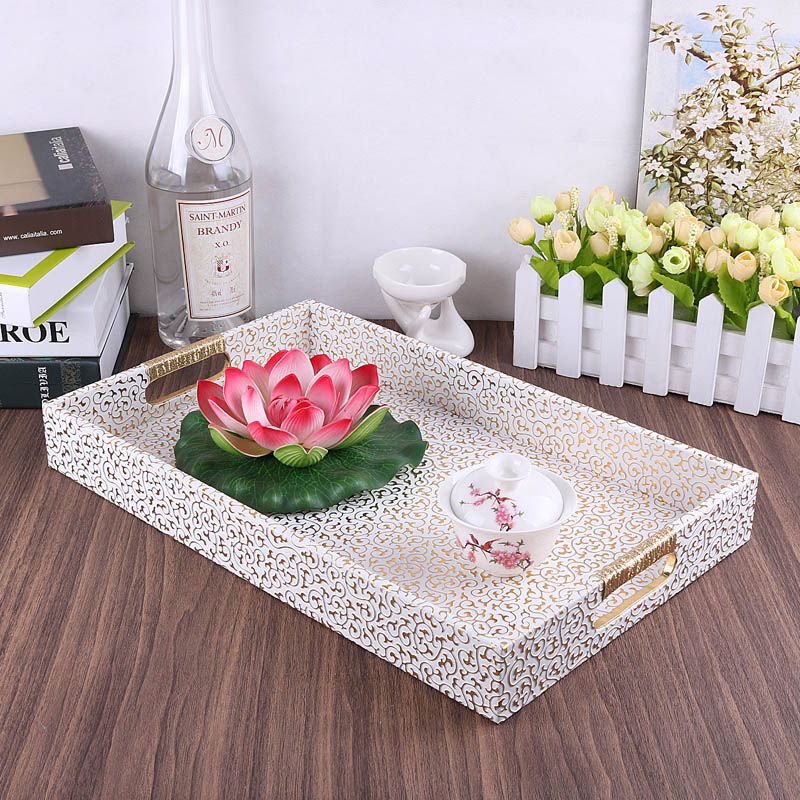 Europe gold white color PU leather wood storage box home decoration tray Table fruit food candy