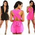Women Sexy Deep V Neck Sleeveless Cross Bandage Chiffon Short Jumpsuits Rompers