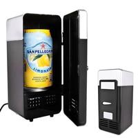 2 in 1 Mini USB Refrigerators Portable Beverage Drink Cans Cooler Warmer Mini Fridge Refrigerator With Internal LED Light