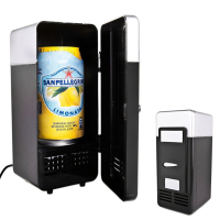 2 in 1 Mini USB Refrigerators Portable Beverage Drink Cans Cooler Warmer Mini Fridge Refrigerator With Internal LED Light