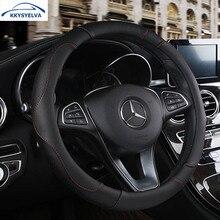 KKYSYELVA Leather Car Steering Wheel Cover Black Wheels Covers Comfort Breathable Auto wheels Interior Accessories