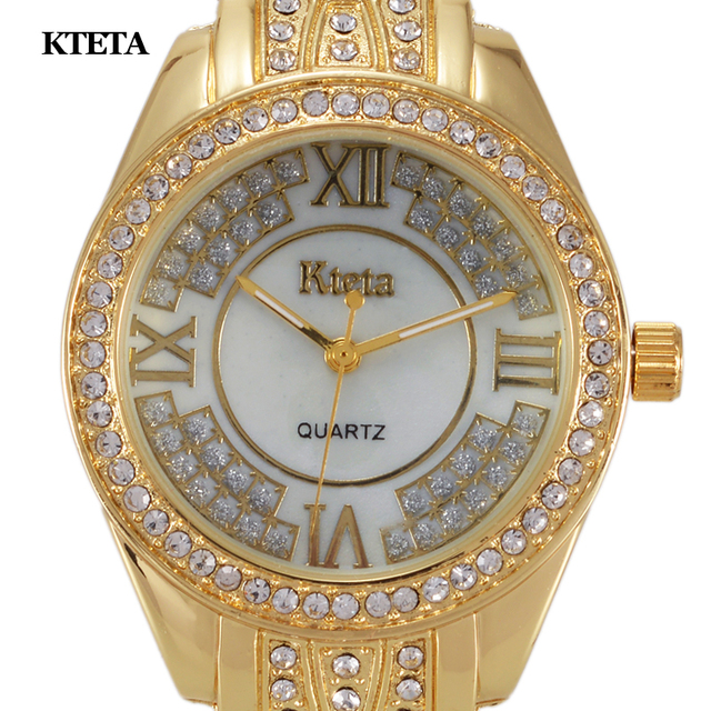 Reloj Mujer Gold Quartz Watch Women Famous Brand Luxury Diamond Wristwatches Fem