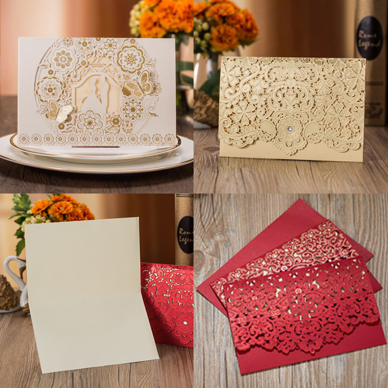 1pcs Gold White Red Luxury Flora Laser Cut Wedding Invitations Card Elegant Wedding Envelopes Event Party Wedding Decoration