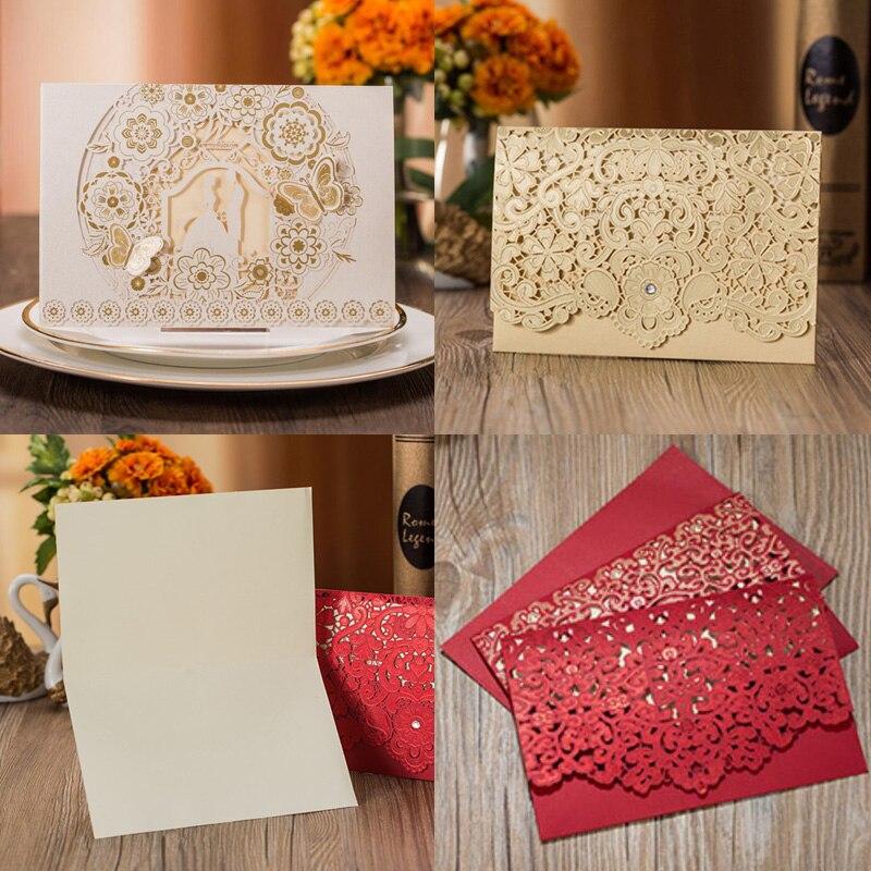 1pcs Gold สีขาวสีแดงหรูหรา Flora เลเซอร์ตัดบัตรเชิญงานแต่งงานงานแต่งงานซองงานปาร์ตี้งานแต่งงานตกแ...