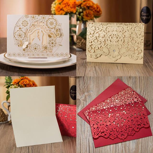 1pcs Gold White Red Luxury Flora Laser Cut Wedding Invitations Card Elegant Wedding Envelopes Event Party Wedding Decoration